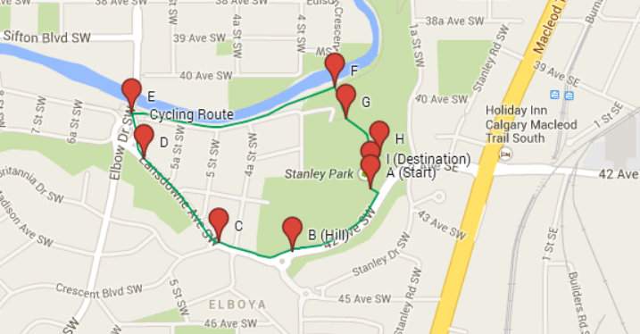 A map of the route for the Childrens Ride in Stanley park located in Calgary, Alberta.