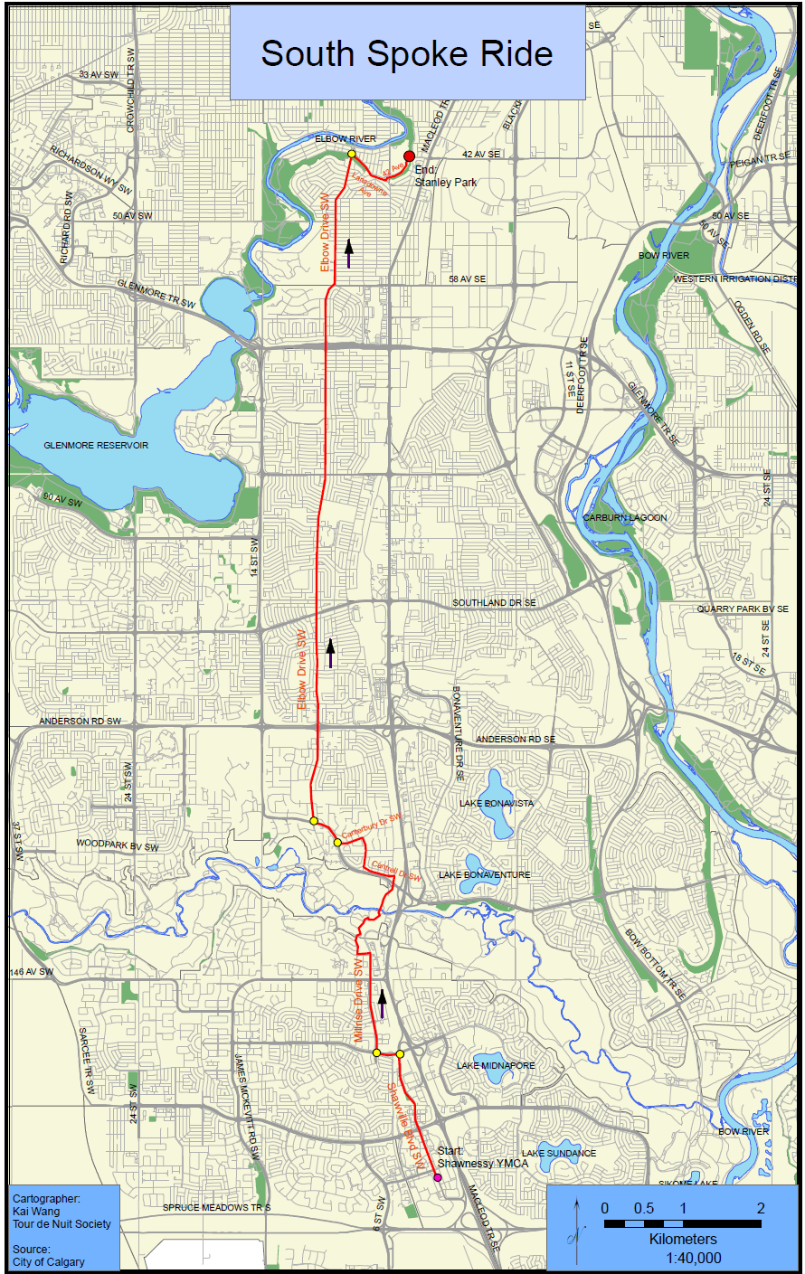 A map of the route for the South Spoke Ride in Calgary, Alberta.