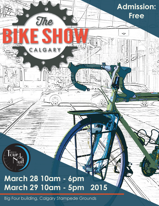 A poster to promote the calgary bike show on March 28th and 29th from 10am to 6pm at the Big Four Building.